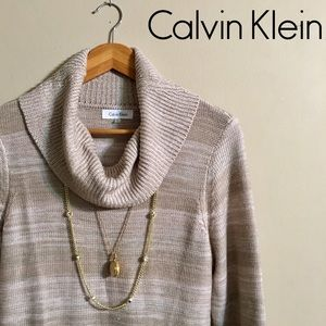 Calvin Klein Sweater Dress with Cowl Neck